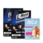Package: Twin Pack L-Men Gain Mass Taro 225gr + HiLo Yoghurt Smoothie Bowl Strawberry (8 Sch)