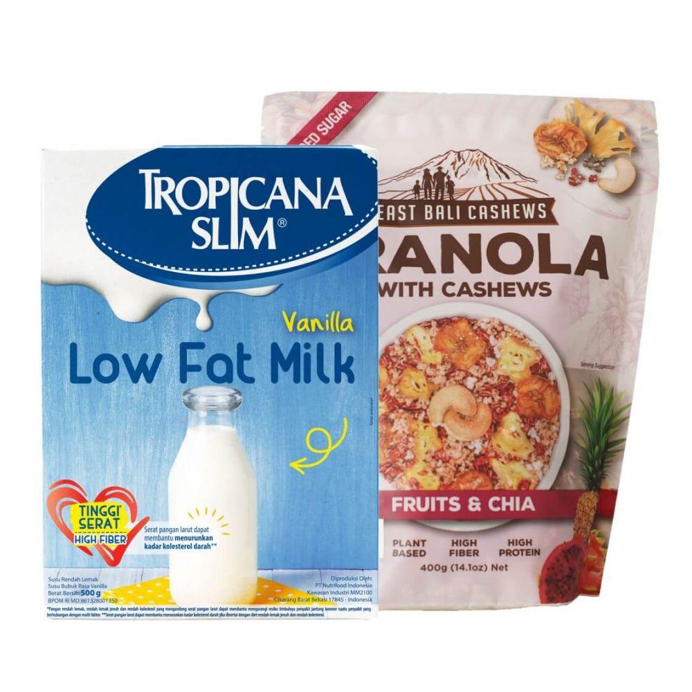 Paket Breakfast Tropicana Slim Low Fat Milk Vanilla 500g East Bali Cashews Granola Fruit Chia 400g