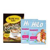 Package: Tropicana Slim Café Latte (10 Sch) + Twin Pack HiLo Yoghurt Smoothie Bowl Strawberry (8 Sch)