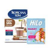 Package: Tropicana Slim Milk Skim Chocolate 500gr + HiLo Yoghurt Smoothie Bowl Strawberry (8 Sch)